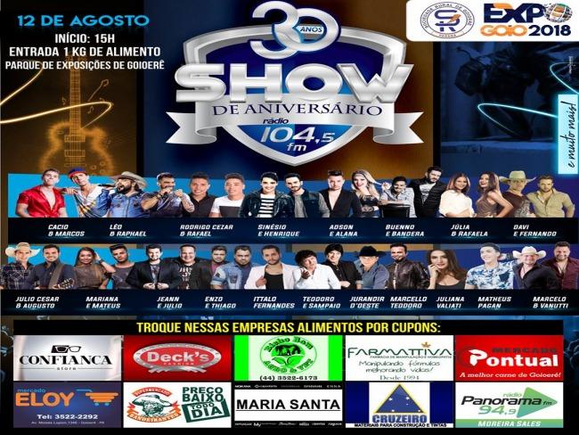 30 anos da rádio 104 FM vai ser show, 10 mil em Prêmios e uma moto