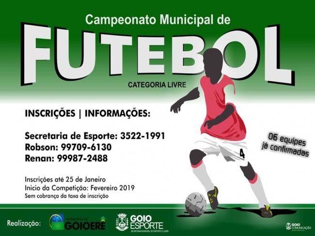 Estão abertas as inscrições para o 1° Campeonato Municipal de Futebol de Campo de Goioerê