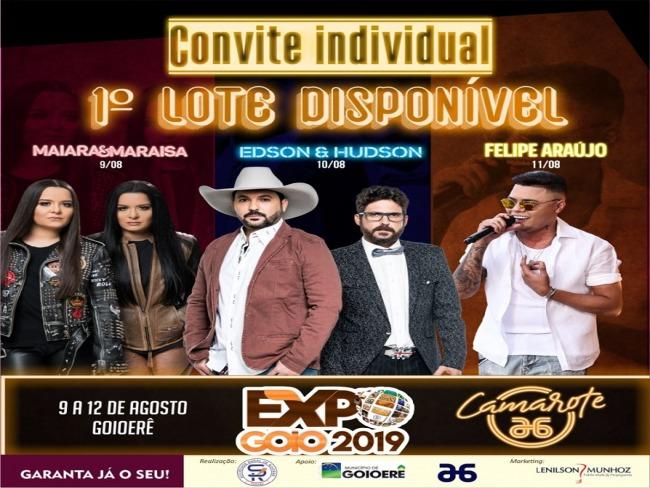 JÁ ESTÃO A VENDA INGRESSOS INDIVIDUAIS PARA EXPO-GOIO 2019