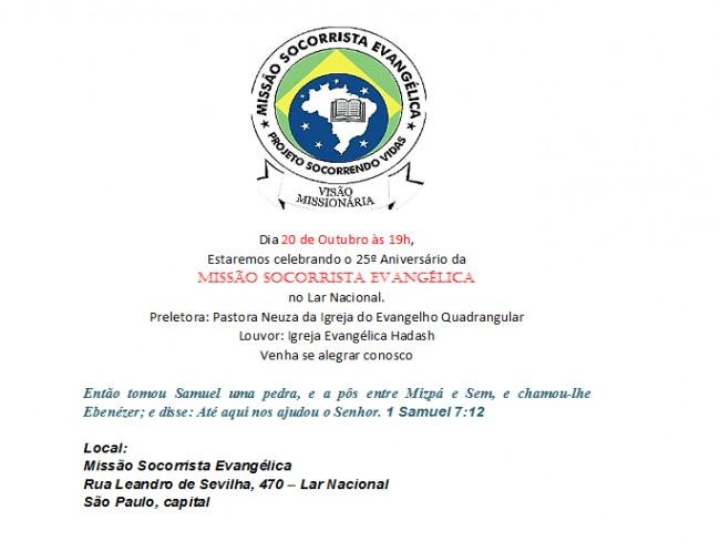 Aniversário da Igreja Socorrista Evangélica