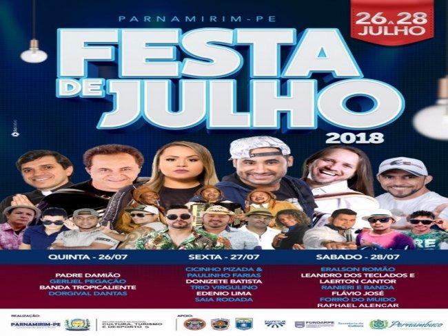 Festa de Julho de Parnamirim-PE começa nessa quinta-feira