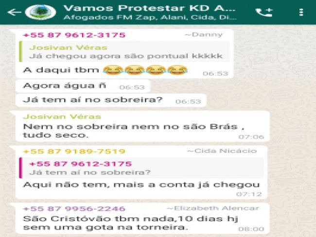 Afogados da Ingazeira-PE: população cria grupo de WhatsApp para protestar contra a Compesa