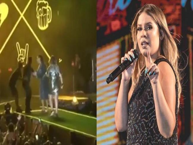 Ivete sobe ao palco de Marília Mendonça e segurança tenta barrar cantora. Veja!