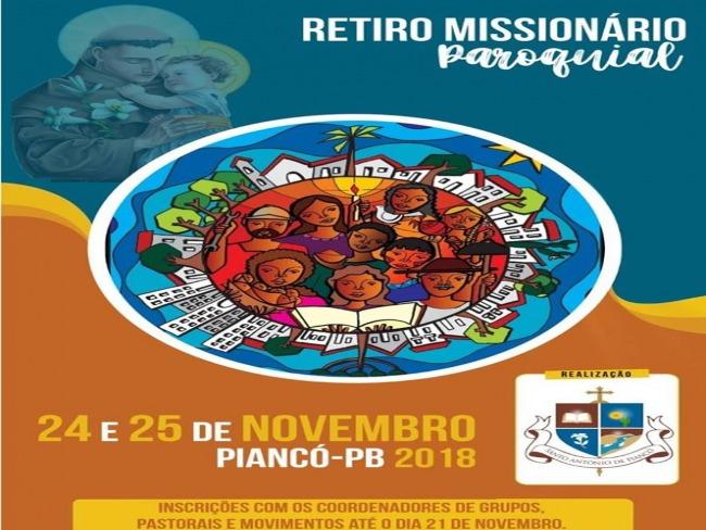 ATENÇÃO! Paróquia de Piancó promoverá RETIRO MISSIONÁRIO -